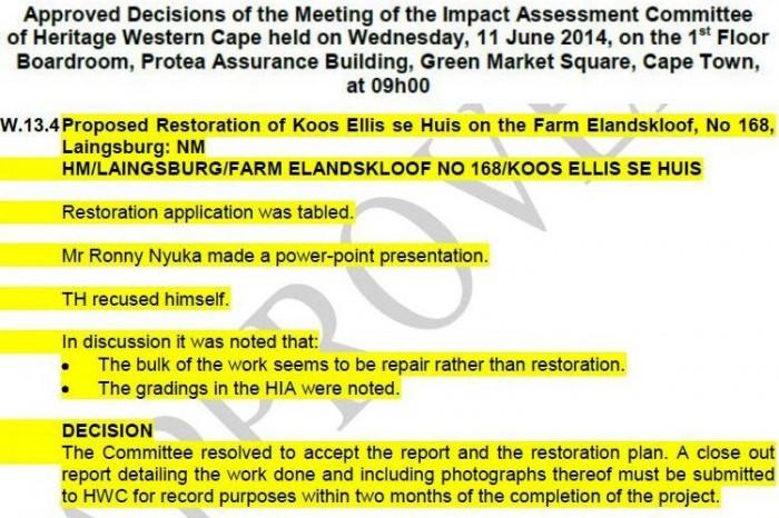 """Approval of restoration of """"Koos Ellis se Huis"""" by Heritage Western Cape"""
