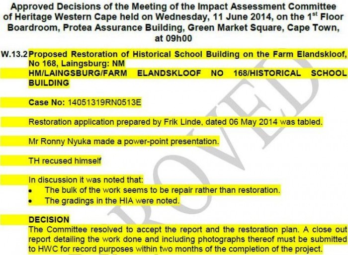 School restoration approval by Heritage Western Cape